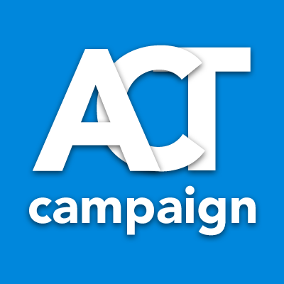 """Text saying """"ACT campaign"""" on a blue background. The letters for ACT overlap with eachother."""