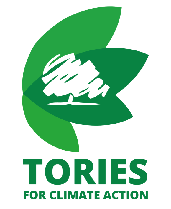 """Four green leaves with a white tree on top of them. Beneath this is the words """"Tories for climate action"""" in the same green colour."""