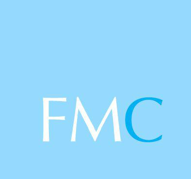 """The letters """"FMC"""" on a light blue background."""
