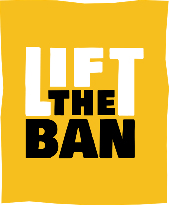 """Text saying """"lift the ban"""" on a yellow background with wavy edges."""
