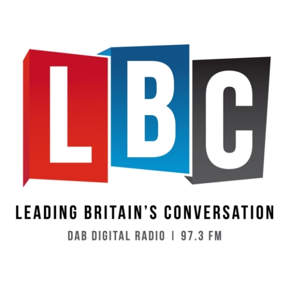 """The letters LBC on red, blue and grey rectangles. Underneath it says """"Leading Britain's conversation"""" and beneath that  """"DAB digital radio 