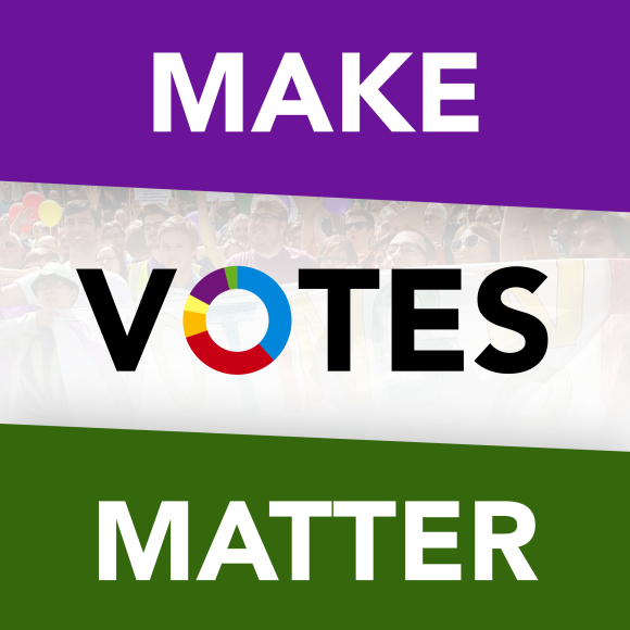 """""""Make Votes Matter"""" on bands of purple, white and then green."""