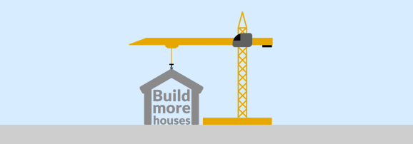 """A crane attached to a house. The house has the words """"Build more houses"""" inside of it. The image has a blue background."""