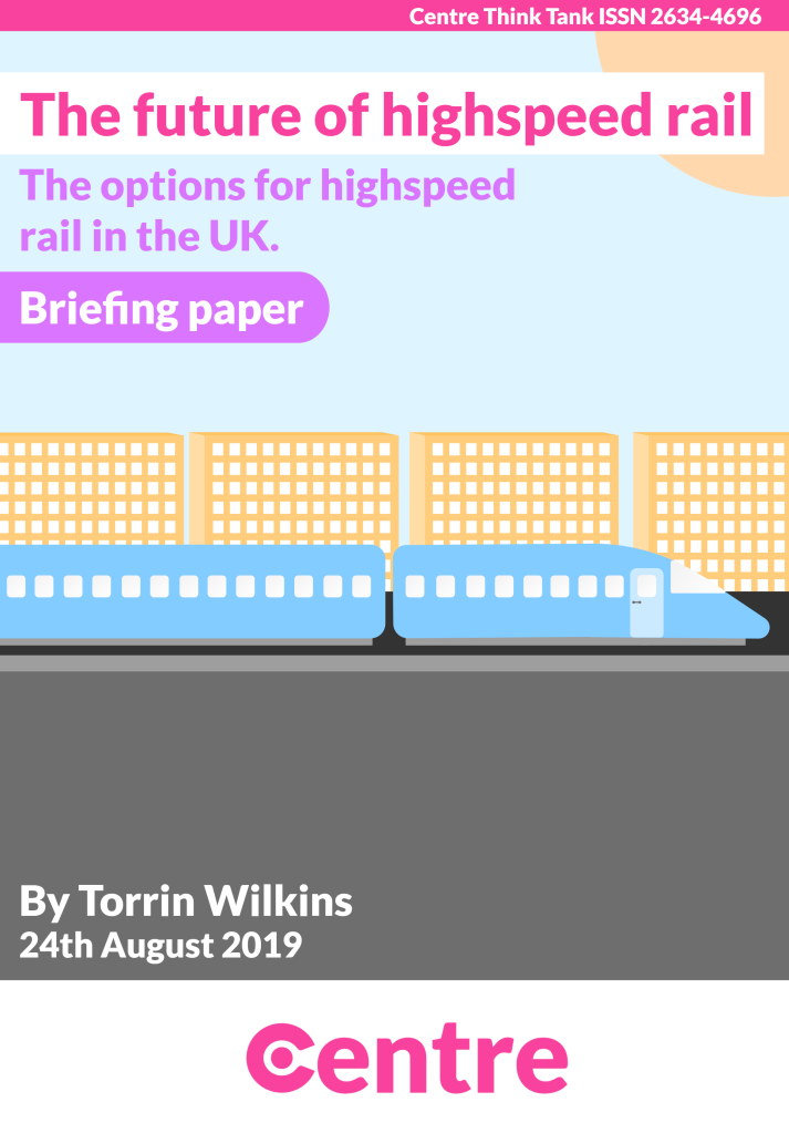 """A blue maglev train travelling past a set of yellow buildings. Above this is a blue background and a yellow sun.  Text: """"The Future of Highspeed Rail Briefing paper - the options for high speed rail in the UK By Torrin Wilkins, August 24th 2019. Centre Think Tank ISSN 2634-4696""""."""