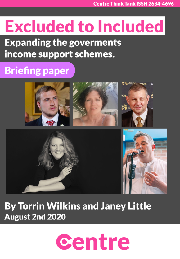 """A cover with five photos of people who were excluded.  Text: """"Excluded to included Briefing paper - Expanding the governments income support schemes By Torrin Wilkins and Janey Little , August 2nd 2020. Centre Think Tank ISSN 2634-4696""""."""