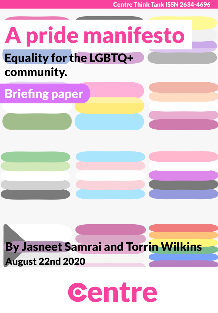 """Multiple lines of paint making our different pride flags.   Text """"A Pride Manifesto Briefing paper - Equality for the LGBTQ+ community By Jasneet Samrai and Torrin Wilkins, August 22nd 2020. Centre Think Tank ISSN 2634-4696""""."""