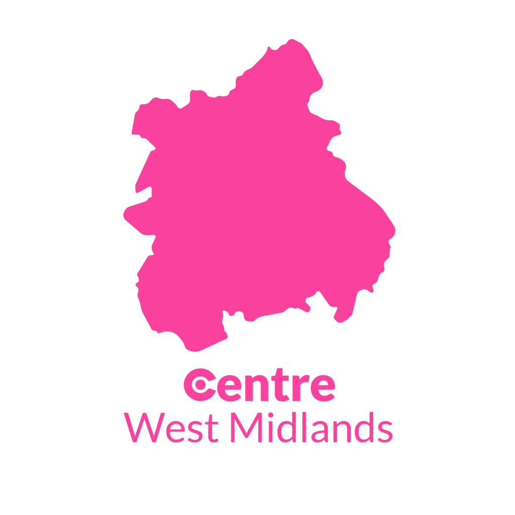 A map of the West Midlands with the Centre logos for that area below.