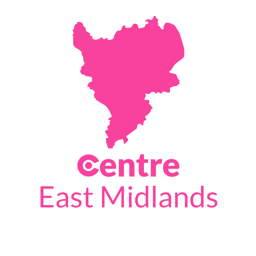 A map of the East Midlands with the Centre logos for that area below.