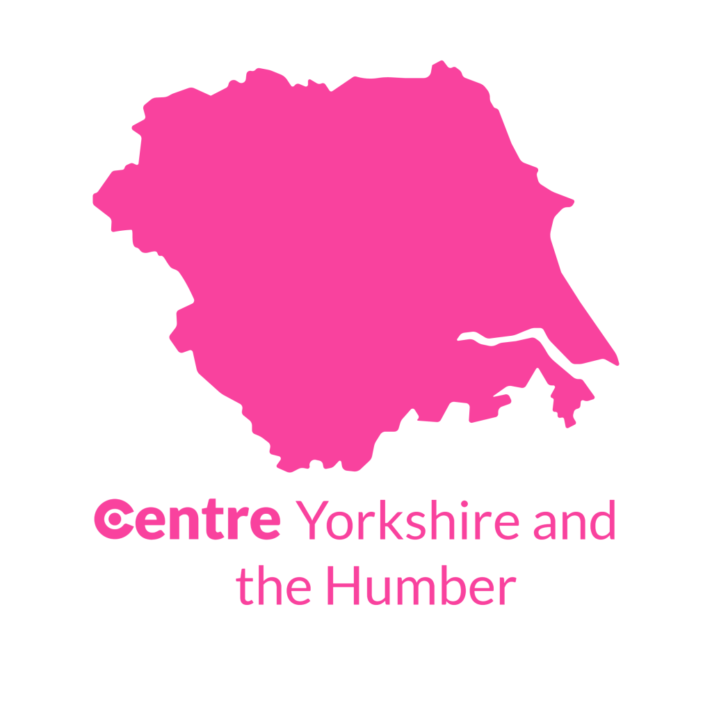 A map of Yorkshire and the Humber with the Centre logos for that area below.