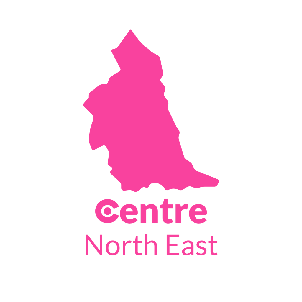 A map of the North East with the Centre logos for that area below.