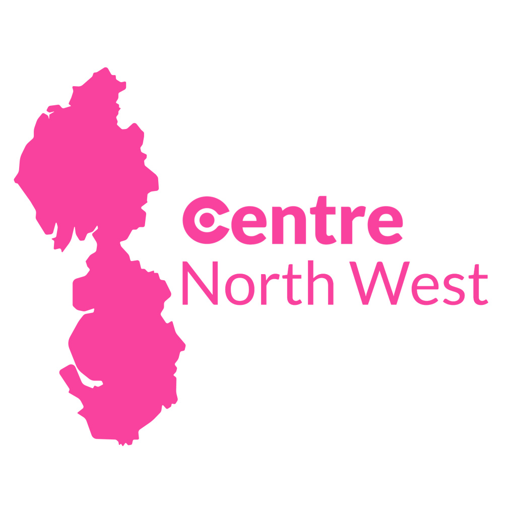 A map of the North West with the Centre logos for that area below.