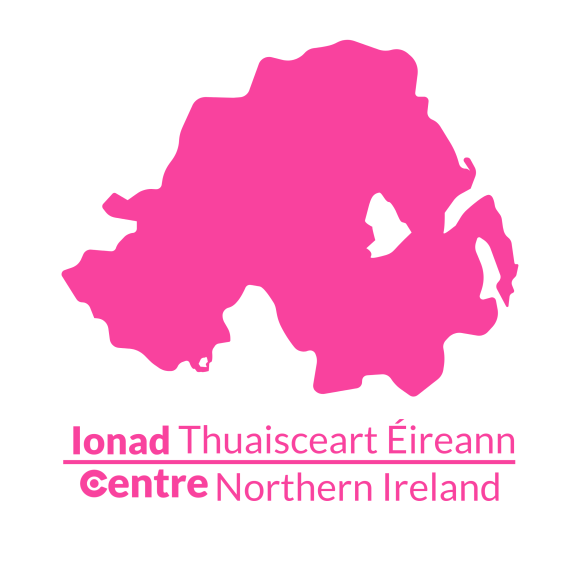 A map of Northern Ireland with the Centre logos for that area below.