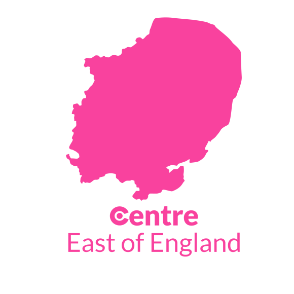 A map of the East of England with the Centre logos for that area below.