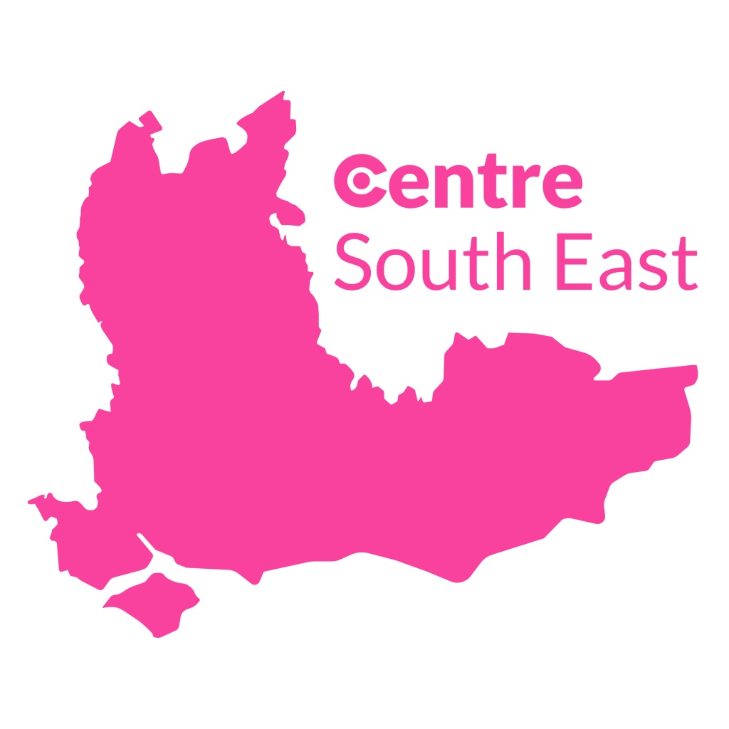 A map of the South East with the Centre logos for that area below.