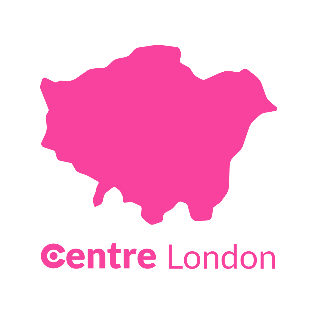 A map of London with the Centre logos for that area below.