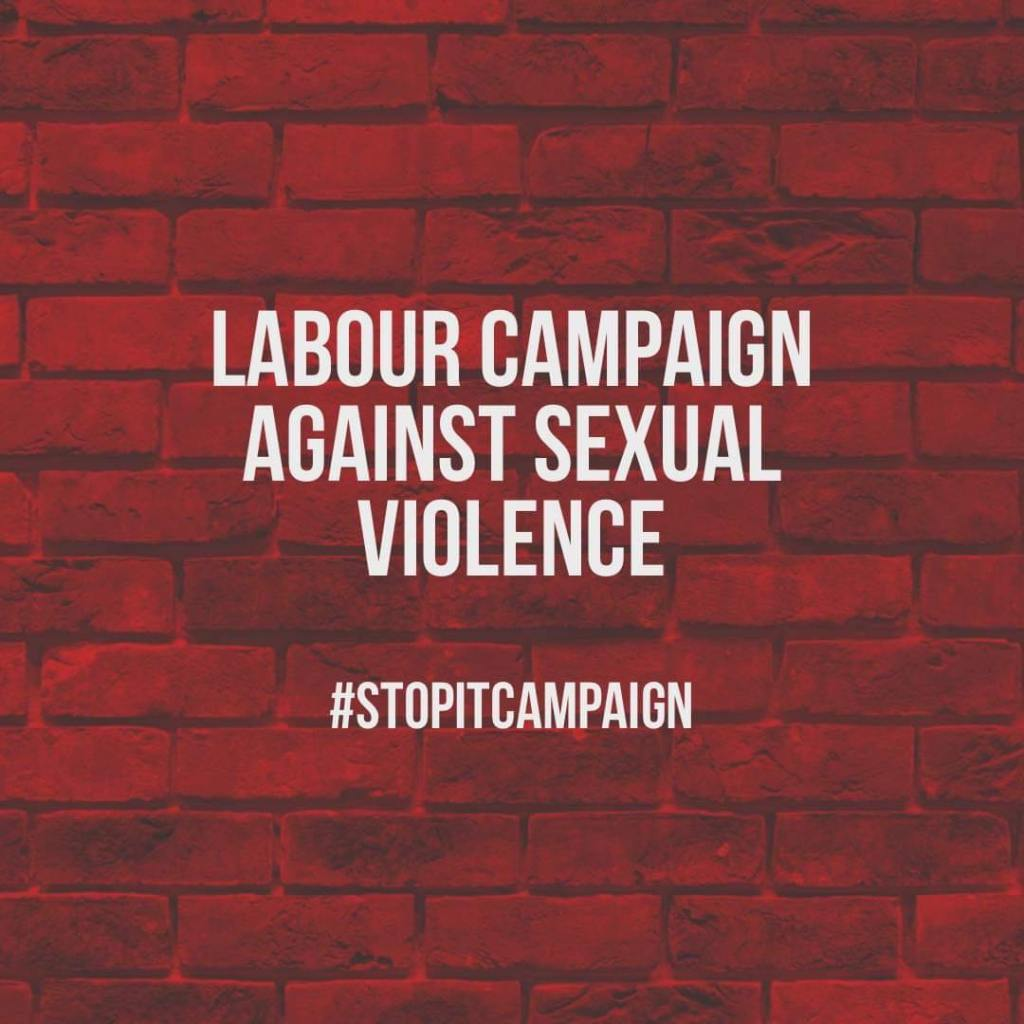 """Text saying """"Labour campaign against sexual violence #stopitcampaign"""" with a red brick wall behind it."""