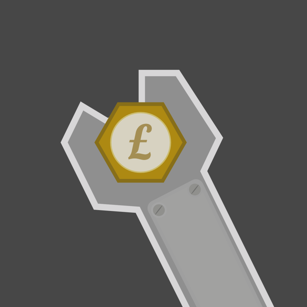 A spanner with a pound coin in the centre.