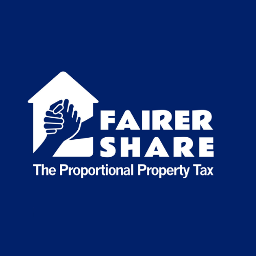"""A house with two hands clasping together with the text """"Fairer share The Proportional Property Tax"""" next to it."""
