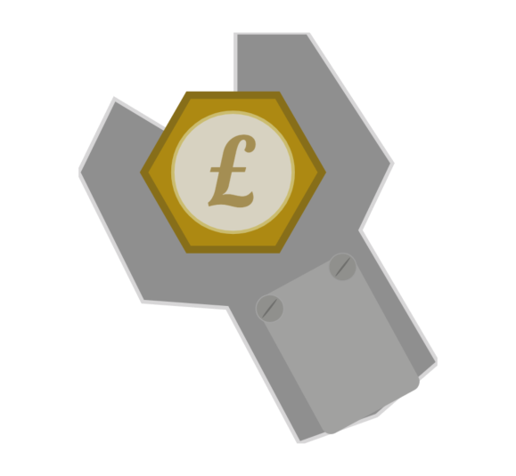 Spanner with pound coin in the middle