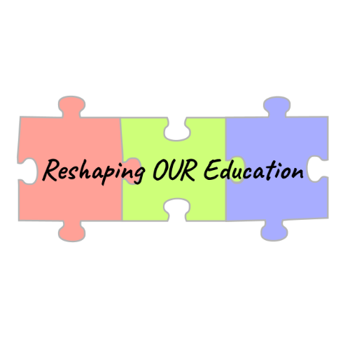 """Three jigsaw pieces in red, green and blue """"Reshaping Our Education""""."""